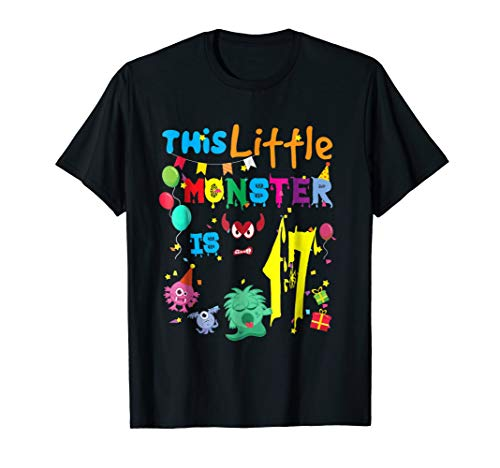 This Little Monster Is 17 Year Old Birthday Halloween Shirt for $<!--$13.99-->