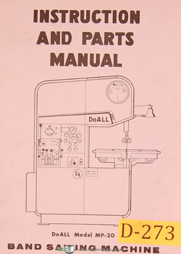 Doall MP-20, Band Saw, Operations and Parts List Manual
