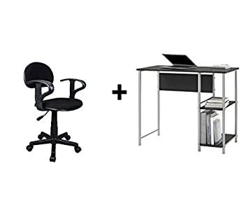 Mainstays Basic Student Desk Sturdy metal frame accented by shelving Black Oak Bundle Task Chair with Arm