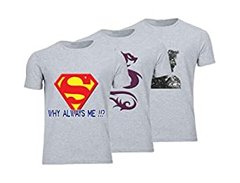 Geek ET1794 Set Of 3 T-Shirt For Men-Grey, 3 Xlarge