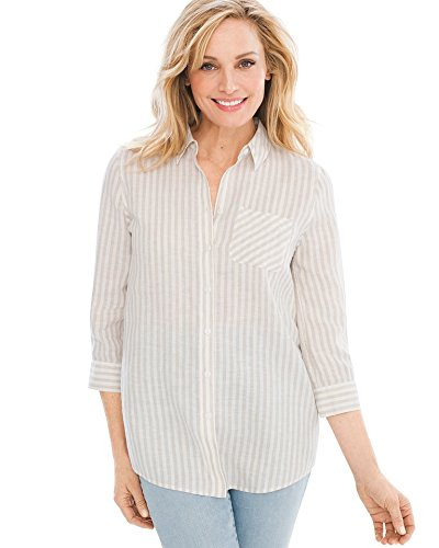 Natural Stripe Shirt - Chico's Women's No-Iron Linen Striped Shirt Size 8 M (1) Natural/White