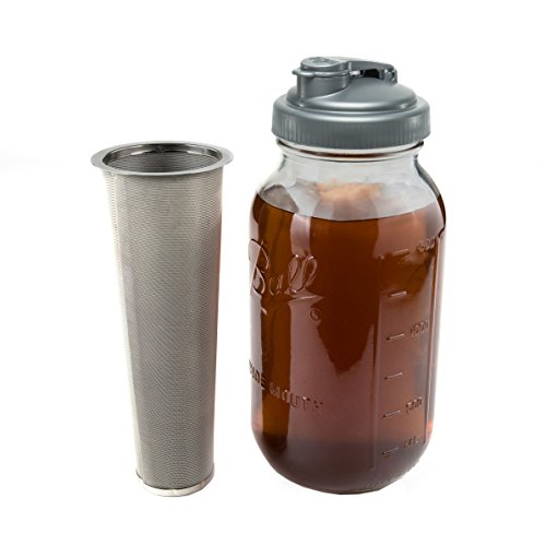 Cold Brew Coffee Maker & Tea Infuser Kit - 2 Quart Glass Ball Mason Jar, reCAP Pour Spout, and Conical Stainless Steel Filter