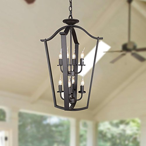 LNC 2-Layer Cage Chandeliers 8-Light Black Candle Pendant for Dining, Living Room and Foyer, A03285