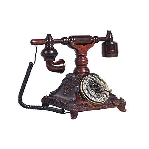 FU TEL Telephone- Retro Mahogany Landline, Solid Wood Body Rotating Dial Line Wired Mobile Phone Accessories Home from FU TEL