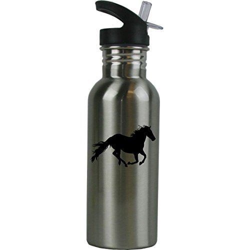 - Personalized Custom Horse Stainless Steel Water Bottle with Straw Top 20 Ounce Sport Water Bottle Customizable (Black)
