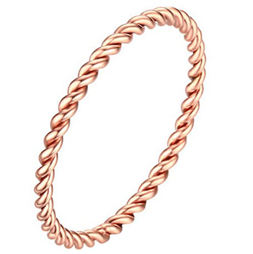 UNAPHYO Women's Stainless Steel 1.5mm Twisted French Rope Skinny Wedding Ring Rose Gold Size (Gold Pinky Ring)
