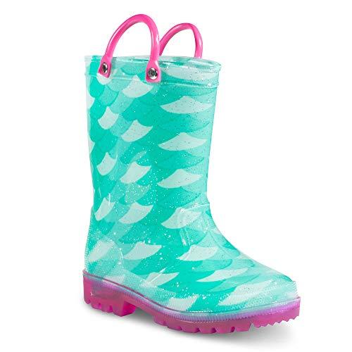ZOOGS Children's Light Up Rain Boots for Little Kids & Toddlers, Boys & Girls, Mint (Mermaid), US 11BigKid