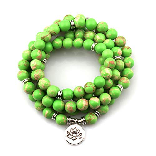 GVUSMIL 8mm Mala Amazonite 108 Beads Necklace for Yoga Buddhist Rosary Prayer Charm Bracelet Made by Natural Gemstone Agate Jade for Women Men (Green King Stone)