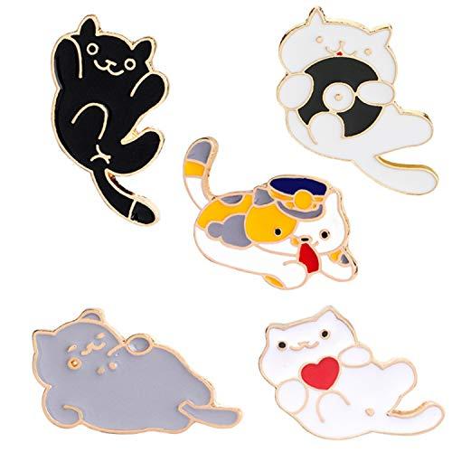JLJ Cute Cat Enamel Lapel Pin Cartoon Animal Enamel Pin Set of 5 Lovely Fat Cats Set -