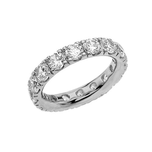 10k White Gold 4mm Comfort Fit Eternity Band With White Topaz (Size 8.5) by Modern Contemporary Rings