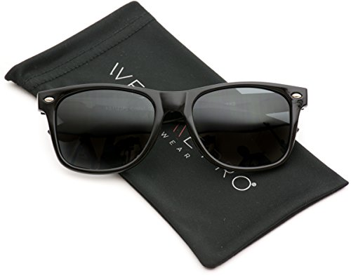 WearMe Pro - Polarized Lens Black Wayfarer Sunglasses - 140 Sunglasses Mm