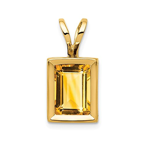 14k Yellow Gold 7x5mm Citrine Bezel Pendant Charm Necklace Gemstone Fine Jewelry Gifts For Women For Her
