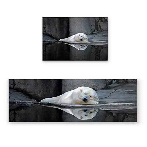 YGUII 2 Piece Non-Slip Kitchen Mat Rubber Backing Doormat Sleeping Polar Bear in The Zoo Runner Rug Set, Hallway Living Room Balcony Bathroom Carpet Sets 16X23.6in (40x60cm) and 16X47in (40x120cm)