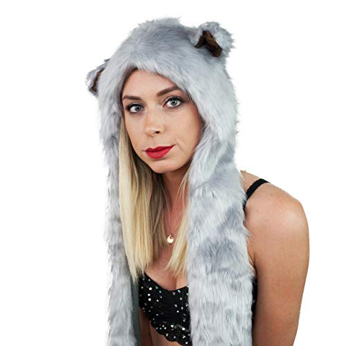 - Festival Gear Spirit Silver Fox Hood Animal Fur Hat Scarf Mittens Rave Wear