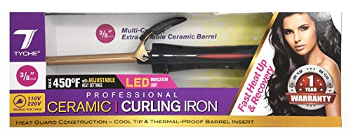 Tyche Professional Ceramic Curling Iron 3/8 inch ()