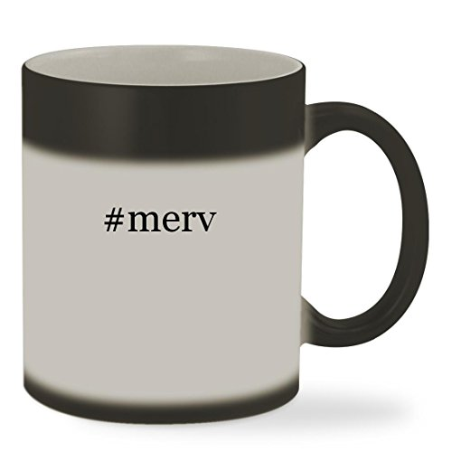 #merv - 11oz Hashtag Color Changing Sturdy Ceramic Coffee Cup Mug, Matte Black