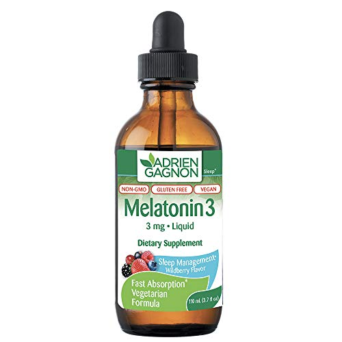 Adrien Gagnon - Liquid Melatonin 3 mg, for Faster and Softer Sleep, Wildberry Flavour, 110 ml