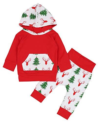 Christmas Outfits Baby Girl Boy Long Sleeve Hoodie Sweatshirt Deer Print Pants Winter Clothes