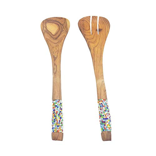 Set of 2 Maasai Masai Salad Multicolored Beads Accented Serving Spoon and Fork