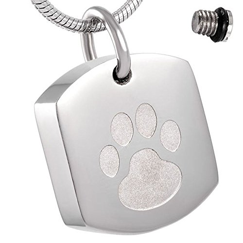 Pet Dog/Cat Paw Print Dog Tags Cremation Jewelry Pendant Necklace Stainless Steel Ashes Locket (Silver) - Dog Tag Locket
