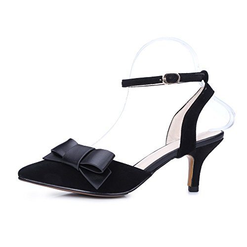 AmoonyFashion Womens Closed Toe Kitten Heels Frosted Solid Buckle Sandals Black fNzZLoa