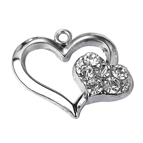 M158-E Cute Clear Crystal LOVE Heart Charm Pendant Wholesale (10 pcs)