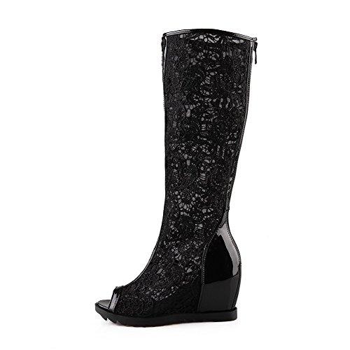 Materials Solid High Black Women's Toe Heels Blend Sandals Zipper Peep WeenFashion tIwq5Pcw