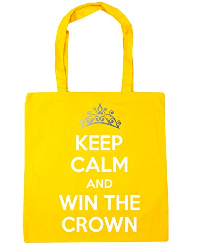 HippoWarehouse Keep calm and carry on y ganar la corona Tote Compras Bolsa de playa 42 cm x38 cm, 10 litros amarillo