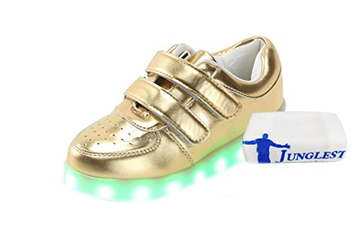 [Presente:pequeña toalla]JUNGLEST® Unisex 7 Colors USB Carga LED Luz Luminosas Flashing Sneakers Altotop Zapatos Zapatillas de Depo c10