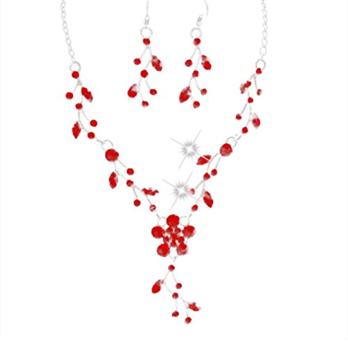 Lucoo Fashion Prom Wedding Bridal Jewelry Crystal Rhinestone Necklace Earring Sets (Red)