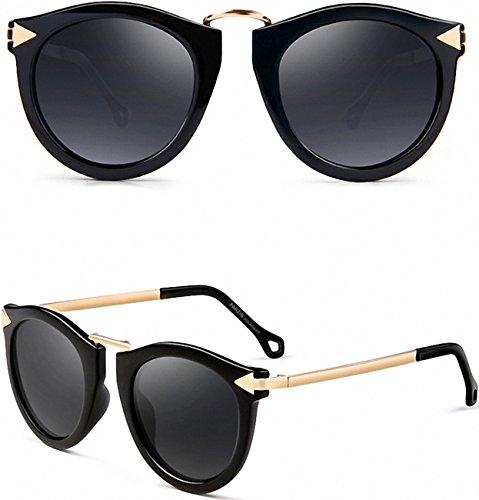 28b5d77da0f ATTCL Vintage Fashion Round Arrow Style Polarized Sunglasses for Women  11189 Black