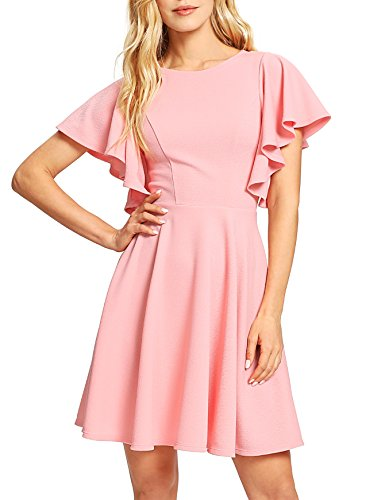 ROMWE Women's Stretchy A Line Swing Flared Skater Cocktail Party Dress Pink S