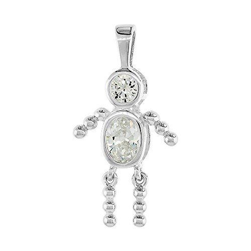 Boy Kids Diamond Charm - Sterling Silver Birthstone Charm April Baby Brat Boy Clear Color Cubic Zirconia