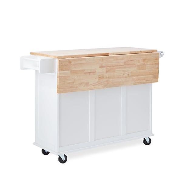 MattsGlobal Traditional Chrome Metal 3-drawer Drop Leaf Kitchen Cart (White/Natural Kitchen Cart)
