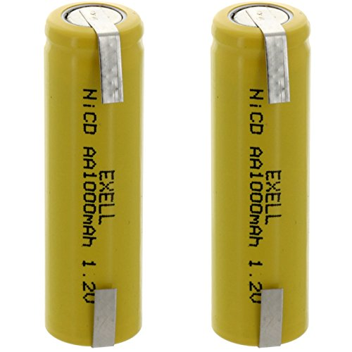 (2-PACK) Exell AA 1.2V 1000mAh NiCD Rechargeable Batteries with Tabs for meters, radios, hybrid automobiles, high power static applications (Telecoms, UPS and Smart grid), radio controlled devices (Battery 600mah Radio Nicd)