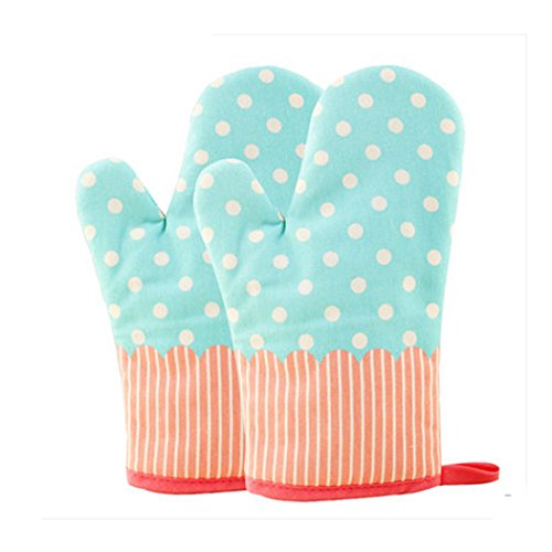 Microwave Oven Mitts (KinChi Glove Microwave BBQ Oven Cotton Baking Pot Mitts Cooking Heat Resistant Kitchen,100% Quilted Cotton with Thick Terry Cloth Lining, Set of 2 Mittens (Blue))