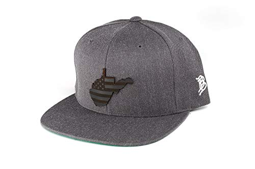 (Branded Bills 'Midnight West Virginia' Leather Patch Snapback Hat - OSFA/Charcoal)