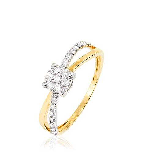 HISTOIRE D'OR - Bague Solitaire Or Bicolore Diamant - Femme - Or 2 couleurs 375/1000