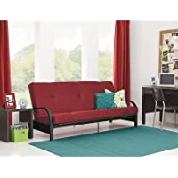 Sturdy Black Metal Arm Frame Futon with 6 Mattress, Red