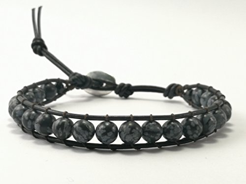 Snowflake obsidian Beaded Single Wrap Leather Bracelet - Size 6.5-7.5 inches