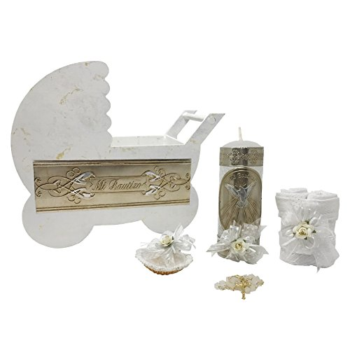 Premium Catholic Baptism Kit in a Wooden Stroller with Towel, Candle, Rosary and Shell for Baby Boys and Girls. Handmade in Mexico Gift for Godparents. Holy Spirit Baptism Candle Set. Kit de Bautizo.