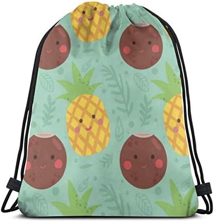 パイナップルとココナッツの巾着バックパック女性用ジムサックキャンバス巾着バッグ軽量スポーツ旅行用36 x 43cm