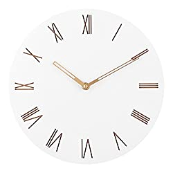 Ryuan Wall Clock,12 inch Round Wooden Quartz Silent Non ticking Decorative Battery Operated, Easy to Read Home Office School Clock (Roman Numeral)