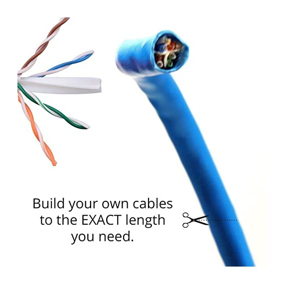 DynaCable Ethernet Bare Copper Cat6 LAN Cable, 1000ft 23AWG 550MHz UTP Solid, cm in Wall Rated, UL Listed, Up to 10 GB… 2 INDUSTRY PREFERRED HIGH PERFORMANCE CAT6 23 AWG, In-Wall CM-Rated Ethernet Bulk Cable is an ideal choice for wiring your home, office, school or any project for a high-speed network. Complies with big industry standards! UL Listed (E467035), Rohs, TIA and BICSI NEW SMART PACKAGING - Box is enclosed on the front and not the side like other boxes in the market, this means less kinks and it won't split open! VERSATILE USE - Compatible with 10/100 Base-T networks and feature enhanced 550 MHz bandwidth for distributing data, voice, and video at high-speeds. A wired Cat 6 network is more reliable and secure than a wireless network for your internet connections