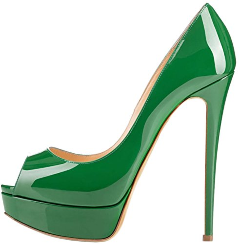 Calaier Mujer Casoup Tacón De Aguja 16CM Sintético Ponerse Sandalias de vestir Zapatos Verde
