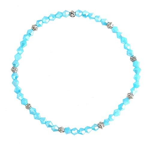 Stretch Bead Ankle Bracelet Anklet - Creamy Aqua Iridescent (A104)