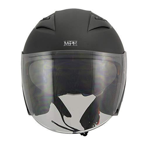 Milwaukee Performance Helmets Men's open face 3/4 helmet (MAT BLACK, 2XL)