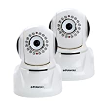 Polaroid IP300W Wireless Network Surveillance Indoor IP Camera with Remote Control Pan/Tilt, Audio/Video Recording & IR Cut Filter 2 Pack - White