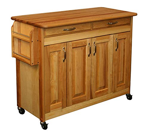 - Wood & Style Furniture Butcher Block Island with Raised Panel Doors Home Office Commerial Heavy Duty Strong Décor
