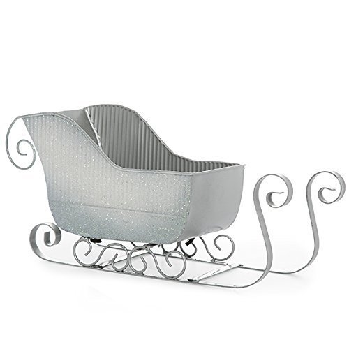 Miniature Sleigh - The Lucky Clover Trading Silver Glitter Sleigh Basket, Small Container,